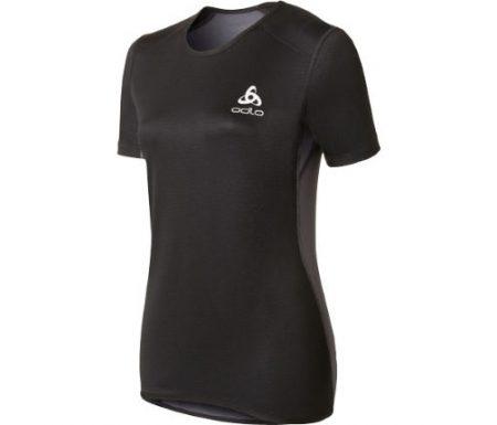 Odlo Shirt S/S Crew Neck – Vindtæt løbe t-shirt til dame – Sort/grå