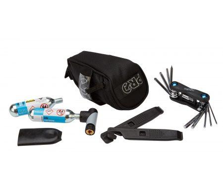 PRO kombipakke – Sadeltaske med Co2 pumpe, dækjern og multitool