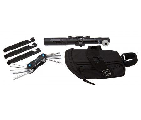 PRO Kombipakke – Sadeltaske med pumpe, miniværktøj og dækjern
