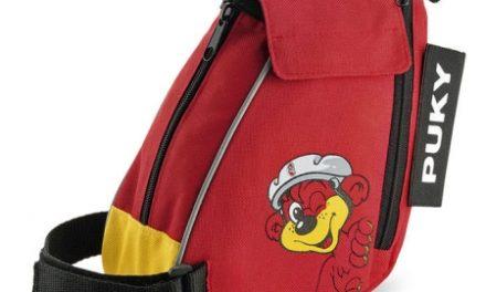 Puky – Løbecykeltaske med bæresele – Rød/gul med bjørn