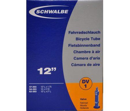 Schwalbe slange 12 1/2 x 2. 1/4 med almindelig ventil DV1