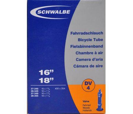 """Schwalbe slange 16 og 18""""med almindelig ventil DV4"""