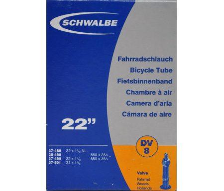 Schwalbe slange 22 x 1. 3/8 med almindelig ventil DV8