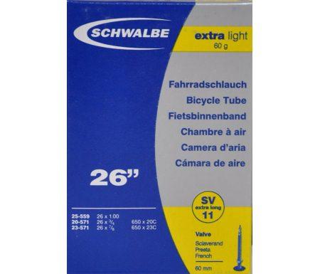 Schwalbe slange 26 x 1,00 X-Light med Racer ventil SV11