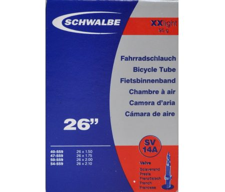 Schwalbe slange 26 x 1,50-2,10 XX-Light med Racer ventil SV14A