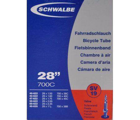 """Schwalbe slange 700×38-62c & 27/29""""er med Racer ventil SV19"""