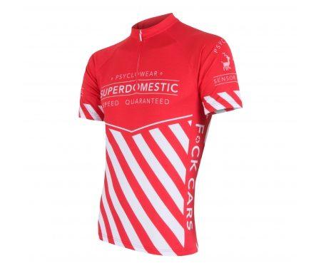 Sensor Cyklo Superdomestic – Cykeltrøje med korte ærmer – Rød/hvid