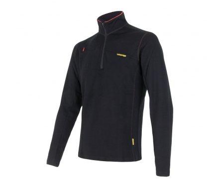 Sensor Merino Fleece Sweatshirt – Herre – Lynlås i halv længde – Sort