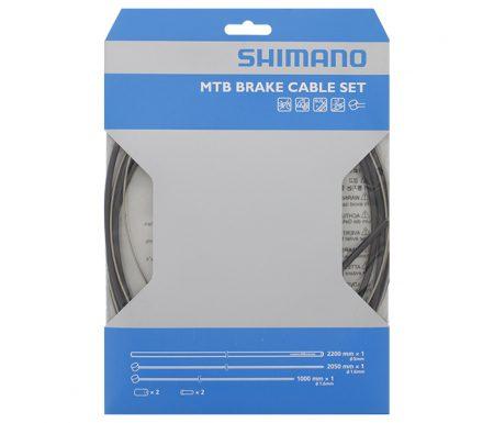 Shimano Bremsekabelsæt – MTB Rustfri – For-og bagbremsekabel komplet – Sort