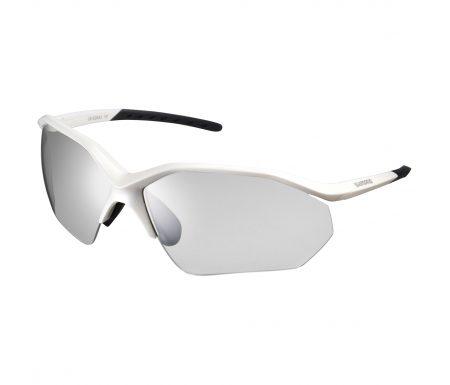 Shimano Cykelbriller – Equinox3 – Fotokromiske mørkgrå linse – Metallic Hvid