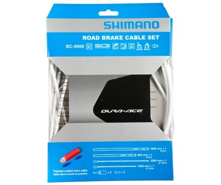 Shimano Dura Ace Bremsekabelsæt – Road Polymer – For-og bagbremsekabel komplet – Hvid