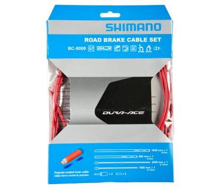 Shimano Dura Ace Bremsekabelsæt – Road Polymer – For-og bagbremsekabel komplet – Rød