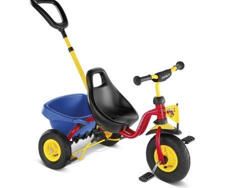 Trehjulet cykel med lad og skubbestang Puky CAT 1 L Rød/Gul
