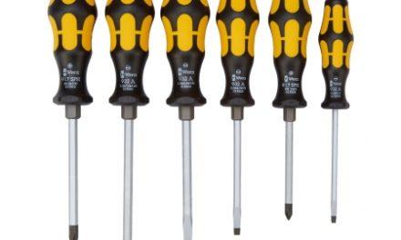 Wera skruetrækkersæt gul med slagstift og vægholder – 6 dele